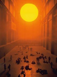 Weather Project , Olafur Eliasson., Instalación en el vestíbulo de la Tate Modern Gallery, Londres, 2003