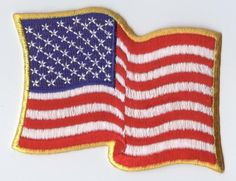 "Iron On Applique/Embroidered Patch/Waving US American Flag 3"" Yellow OR White"