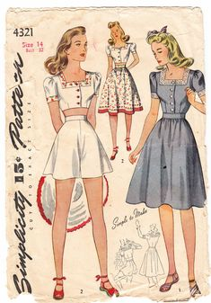 Vintage 1940 Simplicity 4321 Sewing Pattern Misses' Dress or Three Piece Playsuit Size 14 Bust 32