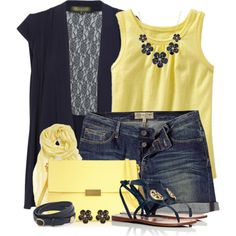 """""""Navy & Yellow"""" by brendariley-1 on Polyvore"""