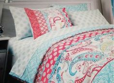 CYNTHIA ROWLEY TWIN XL 3pc DUVET COVER SHAM CORAL AQUAL PINK RUFFLED GIRLS DORM   I can't escape my paisley obsession!
