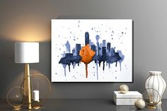 "Dallas Texas Skyline Giclee Canvas Art Print 8x10, 11x14 or 16x20 On Gallery Wrapped Canvas by Artist Amber McDowell. Giclee canvas art print of my original watercolor Dallas Texas skyline. Gallery wrapped canvas is printed with 100% archival inks with a 12 color process for perfect vibrant colors. These prints come with hanging hardware installed and felt bumpers. Gallery wrapped canvas are 1.5"" in width for a museum art feel."