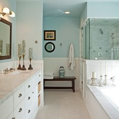 Bathroom Design Inspiration: long sitting bench where the tub is, shower door access from the tub side rather than the toilet side....