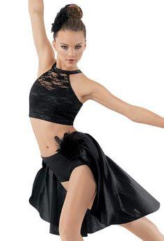 Lace Performance Crop Top & matching Satin Bustle Dance Skirt