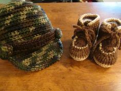 Camo baby hat and workboots; 0-12 months; duck dynasty baby; newsboy camo baby hat; baby shower gift, $24.95