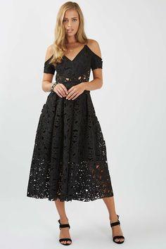 Laser Cut Bardot Prom Dress