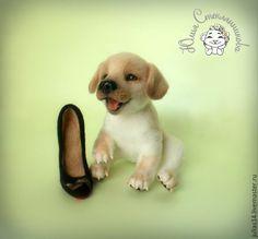 Купить Щенок лабрадора - комбинированный, собака игрушка, собака валяная, собака из шерсти, щенок, щеночек