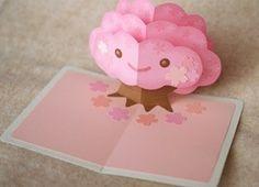 Free Templates - Kagisippo pop-up cards_2 Kawaii tree blossom birthday