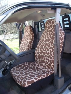 1 Set of Large Giraffe Prints Seat Cover and Steering Wheel Cover Custom Made
