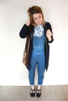 So cute ♥♥♥ http://lookbook.nu/look/4052712-Ymc-Shoes-Topshop-Coat-Dungarees-Dress-Styled (by Alice Davey)