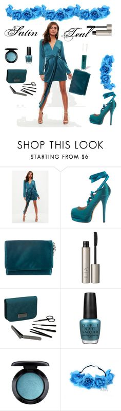 """""""Satin teal"""" by greensparkle1 ❤ liked on Polyvore featuring Missguided, Fendi, Alberta Ferretti, Ilia, Ted Baker, OPI, MAC Cosmetics and Obsessive Compulsive Cosmetics"""