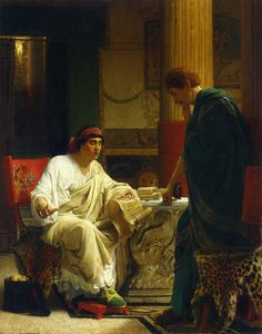 Vespasian Hearing from One of His Generals of the Taking of Jerusalem by Titus (The Dispatch) Artist: Sir Lawrence Alma-Tadema Style: Romanticism Genre: genre painting Dimensions: 51 x 38 cm Gallery: Private Collection Lawrence Alma Tadema, Classical Antiquity, Classical Art, Classical Realism, Rome Antique, Dutch Painters, Pre Raphaelite, Dutch Artists, Traditional Paintings