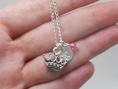 Princess Crown Necklace, Personalized Girls Necklace, Initial Necklace, Little Girl Necklace, Gift for Niece, First Birthday, Child Initial