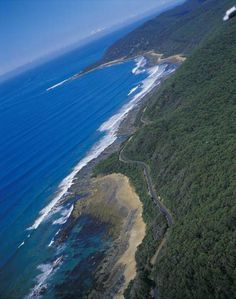 Long road to nowhere, a long, long, road - the Ocean Road in Austrailia, a dizzying view.