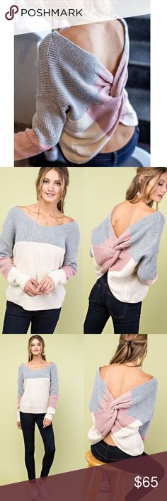 DEVIN Twist Back Sweater Show off that back in this darling twist back sweater, that is reversible.  FITS TRUE TO SIZE  NO TRADE, PRICE FIRM BELLANBLUE Sweaters