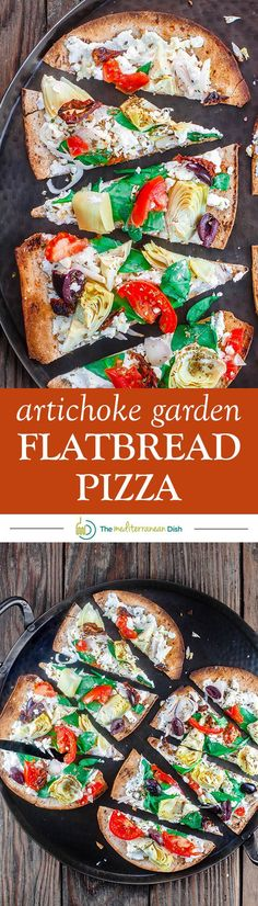 Artichoke Garden Flatbread Pizza The Mediterranean Dish. Mediterranean-style flatbread pizza with artichokes, tomatoes, olives, feta and more! With ready low-carb, high fiber Flatout® Flatbread! Click the pin image to see the recipe and browse Lunch Recipes, Vegetarian Recipes, Dinner Recipes, Cooking Recipes, Healthy Recipes, Pizza Recipes, Healthy Meals, Mediterranean Dishes, Mediterranean Diet Recipes