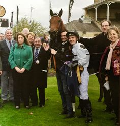 Club members withJames Fanshawe's and jockey Frederik Tylicki after Zest's win at Doncaster on 23 October 2015