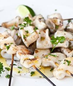 This Grilled Calamari is grilled on a stick, which in my opinion, is just as good as fried! Sometimes the simplest dishes are the best! Cooking Calamari, Calamari Recipes, Squid Recipes, Fish Recipes, Seafood Recipes, Kebab Recipes, Pellet Grill Recipes, Grilling Recipes, Cooking Recipes