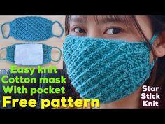 How to make mask (English sub)tutorial knit mask, free pattern,knit mask with filter & pocket Rib Stitch Knitting, Knitting Stitches, Knitting Patterns Free, Free Knitting, Free Pattern, Crochet Patterns, Crochet Mask, Crochet Faces, Free Crochet