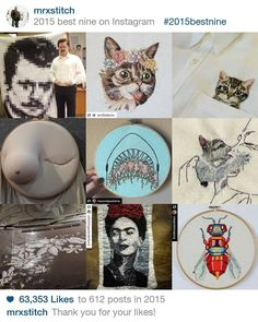 Kittens and flowers featuring heavily in my #bestnine2015 - it's been fun this year 2016 is bound to be awesome! Big love to all of you! #mrxstitch #needlecraft #kitten #fridakahlo #ronswanson #bestnine #lilbub #boob #instacollage #creativityfound #happynewyear via The Mr X Stitch official Instagram  Share your stitchy 'grams with us - @mrxstitch #xstitchersofinstagram #mrxstitch