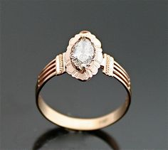 Antique Engagement Ring  Rose Gold and Marquis by SITFineJewelry