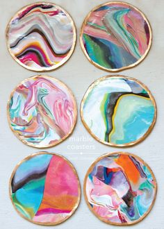 DIY - colorful faux marble coasters