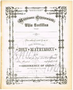 1900's Antique MARRIAGE WEDDING CERTIFICATE Digital Download by KnickofTime