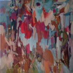 Garden gate.  48x48 inch acrylic on canvas by Becky Fixter