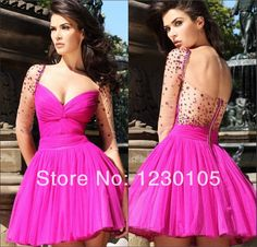 Sheer Back Prom Party Dresses Ball Gown 2014 Collection  Chiffon Beaded glistening backless Custom-made $118.00