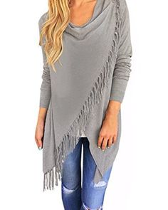 StyleDome Women's Tassels Irregular Hem Long Sleeve Solid Color Knitted Jumper Waterfall Cardigan Poncho Cape Pullover Coat Tops Shirt