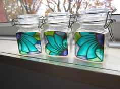 Hand Painted Glass Mini Storage Jars by on Etsy, Painting Glass Jars, Glass Painting Designs, Mirror Painting, Bottle Painting, Bottle Art, Crafts With Glass Jars, Jar Crafts, Bottle Crafts, Stained Glass Patterns