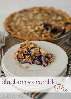 Blueberry Crumb Pie by crazyforcrust.com | Perfect for the 4th of July!
