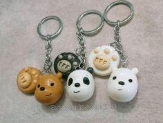 Cute Polymer Clay, Polymer Clay Charms, Diy Clay, Clay Crafts, Polymer Clay Jewelry, Tape Crafts, We Bare Bears, 3 Bears, Clay Keychain