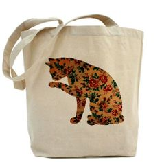 Cotton tote bag, Eco bag, personalized tote, natural color tote bag, Celebrity tote - Floral cat
