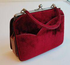 Vintage Red Velvet and Burgandy Alligator Leather by RetrofitStyle, $29.00