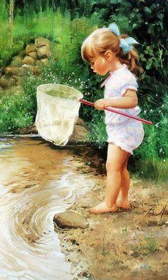 Meisje kikkervisjes aan het vangen.