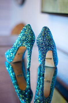 Sparkly turquoise blue high heels for peacock wedding