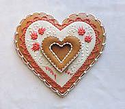 Dekorácie - Medovníkové Valentínske srdce s kvetmi - 7701143_