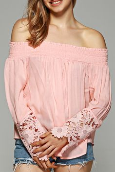$13.10 Off-The-Shoulder Lace Sleeve Blouse