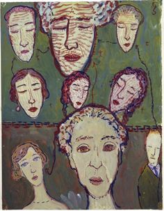 'One, two, three, four, five, six, do you play witch's tricks? Now we are only three.'  In the upper part of this gouache CS depicted the six members of her family who committed suicide, in the lower part the 'surviving' members. Charlotte Salomon