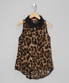 Take a look at this Tan & Black Cheetah Button-Up Tunic - Toddler & Girls by Funkyberry on #zulily today!