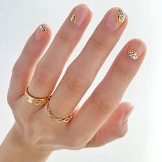 If you want to change up your manicure style, check out the 17 cool glitter nail ideas that will take your fingers from boring to brilliant. Gem Nails, Nail Manicure, Love Nails, How To Do Nails, Pretty Nails, Nail Polish, Cute Simple Nails, Colorful Nail Designs, Nail Designs Spring