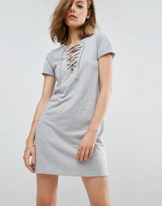 Платье-футболка со шнуровкой спереди ASOS