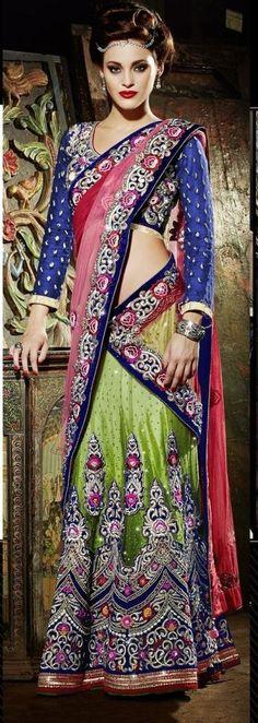 Green Pink Embroidery Designer Work Lehenga Sari Blue Semi Stitched Blouse