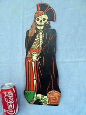 1950s Vintage Beistle Die Cut Pirate Halloween Skeleton Decoration Treasure