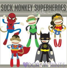 Sock Monkey Super Hero Digital Clip Art Set Batman by DorkyPrints