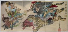 """Shows Shoki, the """"Demon Queller"""" riding a tiger and brandishing his two-edged sword at a group of terrified oni."""