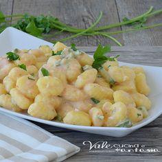Gnocchi con zucchine e crema di scampi