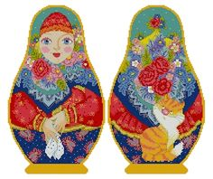Counted Cross Stitch Russian Doll Matreshka Anastasia with Hanky, two-sided design