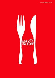 This is a Coca Cola add, the iconic bottle is the figure and the knife and fork…
